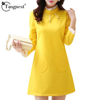 TAGNEST Women Winter Dress 2016 New Autumn Korean Style Vintage OL Beading Solid Color Long Sleeve Mini Dress Vesidos WQL2925