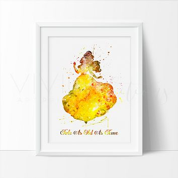 Belle, Beauty and the Beast Quote Watercolor Art Print