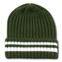 OLIVE GREEN & WHITE STRIPED THICK KNIT LONG / CUFFED SWEATER BEANIE CAP CAPS HAT