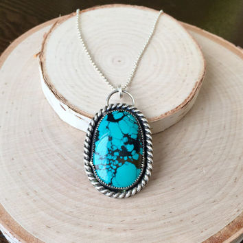 Large, Beautiful Turquoise Gemstone Pendant with Handmade, .925 Silver Pendant, with Dark Patina and Silver Rolo Chain, Statement Necklace