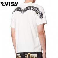 EVISU New Summer Men Women Casual Print Round Collar T-Shirt Top Blouse
