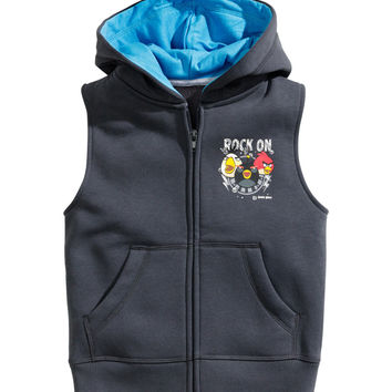H&M - Sleeveless Hooded Jacket - Dark gray - Kids