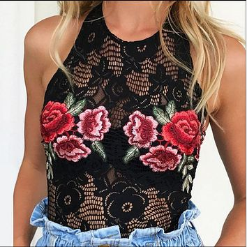 Hot summer new embroidery flower bud silk neck backless romper jumpsuits