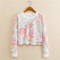 Stylish Round-neck Pullover Print Long Sleeve Hoodies [9101511175]