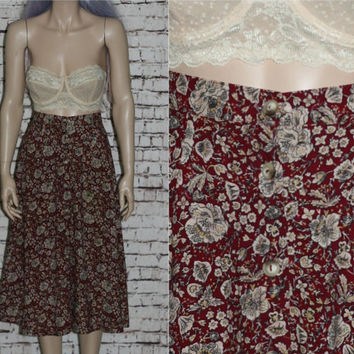 70s High Wasit Button Up Midi Ethnic Floral Rayon Wine Red Boho Festival Hipster Maroon Burgundy Beige XS S 80s