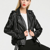 Black Epaulet Lapel Zippered Biker Jacket With Belt