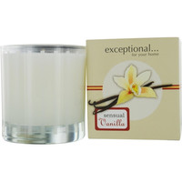 VANILLA SENSUAL - LIMITED EDITION by Exceptional Parfums SENSUAL VANILLA SCENTED 6 OZ TAPERED GLASS JAR CANDLE.