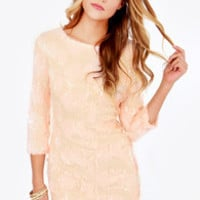 Frappe Partay Peach Sequin Dress