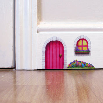 Pink Cottage Fairy Door wall sticker/decal including by LolaMurals