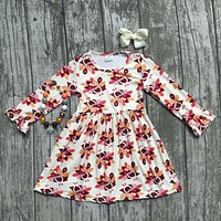baby girls thanksgiving dress baby kids Fall milk silk dress children turkey dress baby girls boutiques dress with accessories