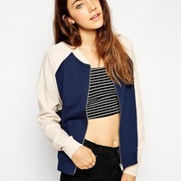 ASOS Bomber Jacket with Woven Sleeves