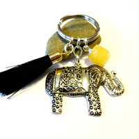 Elephant Keychain, Black Tassel, Yellow Jade Gemstone Key Chain, Good Luck Key Ring, Lucky Elephant Gift, Car Accessory