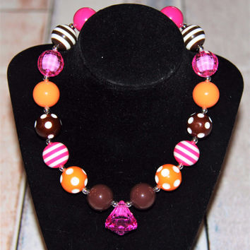 Hot Pink Brown & Orange Bubblegum Necklace