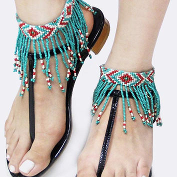 Acrylic seed bead fringe anklet (Red/Turquoise)