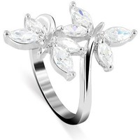 925 Sterling Silver Marquise Shape Cubic Zirconia Butterfly Ring