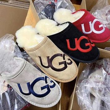 UGG classic fashion big letter LOGO embroidery printed slippers plush slippers Shoes