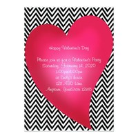 Chevron Heart Valentine's Day Party Invitation