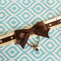 Cream and Brown Collar, Pet Play Collar, Kitten Play Collar, Tug Proof Collar, BDSM Collar, Ribbon Collar, Submissive Collar, Pleated Collar