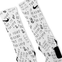 Drake Too Late Custom Nike Elite Socks