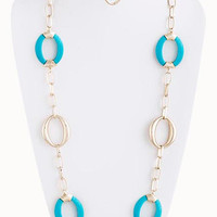 Turquoise & Gold Oval Hoop Chain Necklace - My Jewel Candy