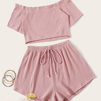 Rib-knit Bardot Top and Tie Waist Shorts Set