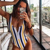 Sexy Striped One Piece Swimsuit Women Zipper Swimwear Bodysuit Push Up Bathing Suits Beach Wear Swimming Suit