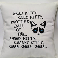 Grumpy Kitty Song inspired by Big Bang Theory Soft Kitty Embroidered Pillow Case Cover