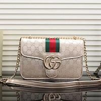 Gucci Women Fashion Leather Chain Satchel Shoulder Bag Handbag Crossbody-3
