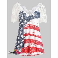 Back Cut Out Lace Insert V Neck T-Shirt Short Sleeve Star Print American Flag
