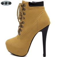 women boots sexy high heels platform ankle boots for women botas femininas thin heel lace up night high heel boots black yellow