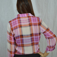 Casual Sheer Plaid Tie Shirt