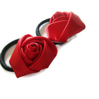 Ruby Red Rosette Ponytail Pairs by LuckyNumberTutu on Etsy
