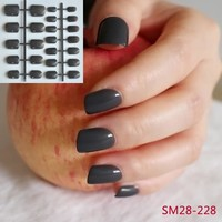 Candy Color Dark Gray Black Full Cover False Nails 24 pcs Square Manicure Fake Nails Middle 228