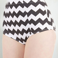 ModCloth Mod High Waist Poolside Pretty Swimsuit Bottom in Chevron
