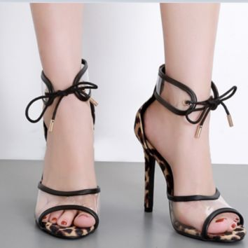 New summer leopard print super-high heels sexy skinny strappy sandals