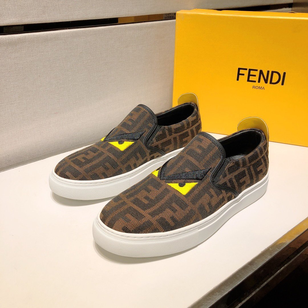 Image of Fendi Men's Leather Fashion Low Top Loafers Shoes