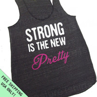 Strong is the New Pretty  Eco Heather Racerback Workout Womens Tank Top Alternative Apparel Free Shipping