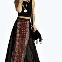 Zoe Tribal Print Mixed Chiffon Maxi Skirt