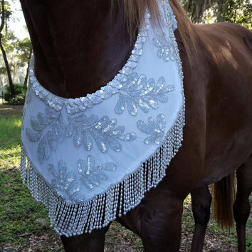 White Sequins and Pearls Equine Necklace - Beaded and Fringed Horse Breast Collar - Wedding, Fairy, Arabian Horse Costume