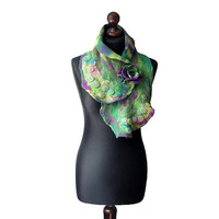 Nuno felted collar nuno felted scarf art to wear scarf green purple violet collar with felted brooch OOAK