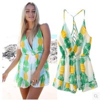 Pineapple Pattern Summer Fashion Style Lovely Women Dress One Piece Beachwear = 4827975044