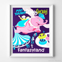 Disneyland Print Mad Tea Party Dumbo Carousel Fantasyland Decor Gift UNFRAMED by Inkist Prints