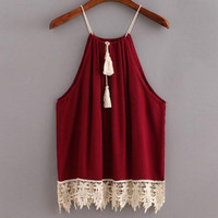 Women Lace Trimmed Tasselled Drawstring Blouse Tank Tops T Shirt Perfect Present