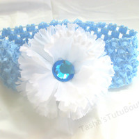 Blue and White Flower Headband