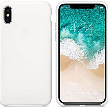 "SURPHY Silicone Case for iPhone Xs iPhone X Case, Slim Liquid Silicone Soft Rubber Protective Phone Case Cover (with Soft Microfiber Lining) Compatible with iPhone X iPhone Xs 5.8"", White"