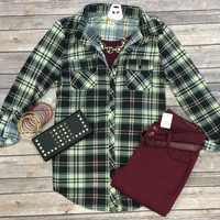 Penny Plaid Flannel Top: Burgundy/Black