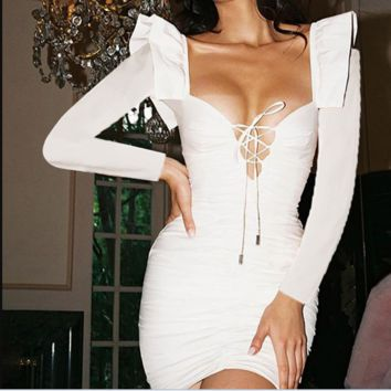 New long - sleeve band hollow out sexy backless slim dress woman