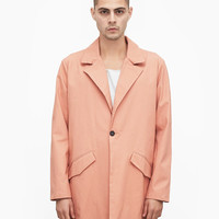 Single-Button Swing Coat in Light Salmon