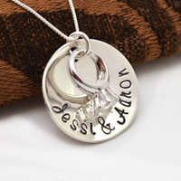Personalized Necklace - Wedding Ring, Engagement Necklace, Gift for Her, Wedding, Bridal Keepsake, Anniversary Necklace