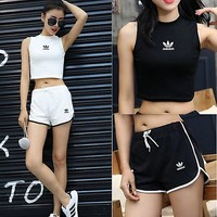 Adidas Fashion Top Cami Crop Shorts Sport Gym Running Set Two-Piece Sportswear